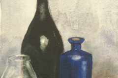 Blue still life with bottle